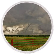 Round Beach Towel featuring the photograph Tornado At The Ranch by Ed Sweeney