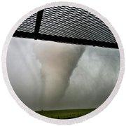 Tornado Near Yorkton Sk. Round Beach Towel