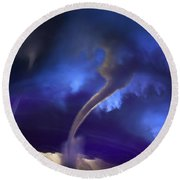 Tornado Storm 2 - Collage Round Beach Towel