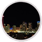 Toronto At Night Round Beach Towel by David Pantuso