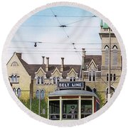 Round Beach Towel featuring the painting Toronto Belt Line by Kenneth M Kirsch