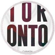 Toronto, Canada - City Name Typography - Minimalist City Posters Round Beach Towel