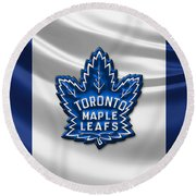 Toronto Maple Leafs - 3d Badge Over Flag Round Beach Towel