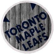 Toronto Maple Leafs Wood Fence Round Beach Towel