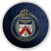 Round Beach Towel featuring the digital art Toronto Police Service  -  T P S  Emblem Over Blue Velvet by Serge Averbukh