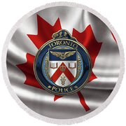 Round Beach Towel featuring the digital art Toronto Police Service  -  T P S  Emblem Over Canadian Flag by Serge Averbukh