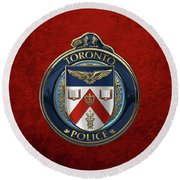 Round Beach Towel featuring the digital art Toronto Police Service  -  T P S  Emblem Over Red Velvet by Serge Averbukh