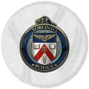 Round Beach Towel featuring the digital art Toronto Police Service  -  T P S  Emblem Over White Leather by Serge Averbukh