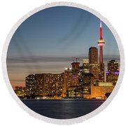 Round Beach Towel featuring the photograph Toronto Skyline At Dusk by Adam Romanowicz