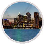 Round Beach Towel featuring the photograph Toronto Skyline At Dusk Panoramic by Adam Romanowicz