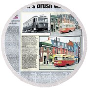 Round Beach Towel featuring the painting Toronto Sun Article Streetcars Brush With Fame by Kenneth M Kirsch