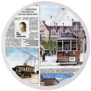 Round Beach Towel featuring the painting Toronto Sun Article Painting The Town by Kenneth M Kirsch