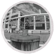 Torpedo Factory Art Center In Black And White Round Beach Towel