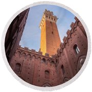 Round Beach Towel featuring the photograph Torre Del Mangia Siena Italy by Joan Carroll