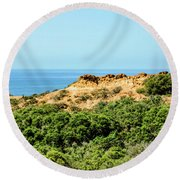 Torrey Pines California - Chaparral On The Coastal Cliffs Round Beach Towel