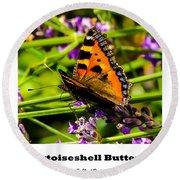 Tortoiseshell Butterfly. Round Beach Towel