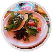 Round Beach Towel featuring the photograph Tostada Times Two by Marie Neder