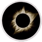 Total Solar Eclipse Corona Round Beach Towel