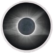 Round Beach Towel featuring the photograph Total Solar Eclipse With Corona by Lori Coleman