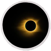 Round Beach Towel featuring the photograph Totality True Color by Onyonet  Photo Studios