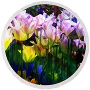 Totally Tulips Round Beach Towel