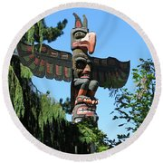 Totem Pole Round Beach Towel by Betty Buller Whitehead