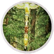Totem Pole Round Beach Towel