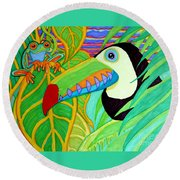 Toucan And Red Eyed Tree Frog Round Beach Towel by Nick Gustafson