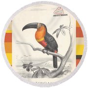 Round Beach Towel featuring the digital art Toucan Bird Responsible Travel Art by Nola Lee Kelsey
