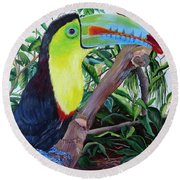 Toucan Portrait Round Beach Towel by Marilyn McNish