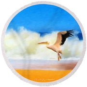 Touch Down Round Beach Towel