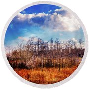 Round Beach Towel featuring the photograph Touch Of Autumn In The Glades by Debra and Dave Vanderlaan