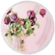 Round Beach Towel featuring the mixed media Touchable by Betty LaRue