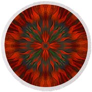 Tough Red Round Beach Towel by Giada Rossi