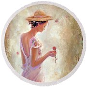 Round Beach Towel featuring the painting Toujours De Fleurs by Michael Rock