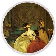 Toulmouche Auguste The Reluctant Bride Round Beach Towel by Auguste Toulmouche