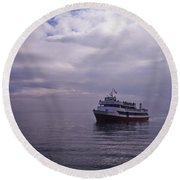 Tour Boat San Francisco Bay Round Beach Towel