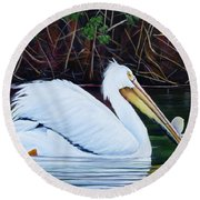Touring Pelican Round Beach Towel by Marilyn McNish