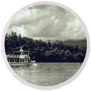 Touring The Lakes In Sepia Round Beach Towel
