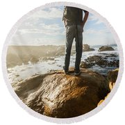 Tourist Looking At The Ocean Round Beach Towel