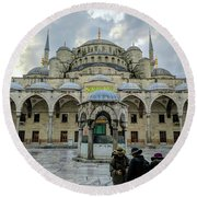 Tourists And The Blue Mosque Round Beach Towel