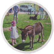 Round Beach Towel featuring the painting Tourists At Boltons Bench New Forest  by Martin Davey