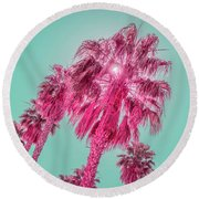 Tourmaline And Turquoise - Jewel Colored Palm Trees Round Beach Towel