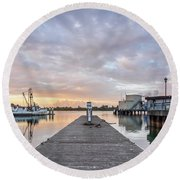 Round Beach Towel featuring the photograph Toward The Dusk by Greg Nyquist