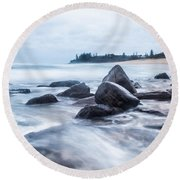 Round Beach Towel featuring the photograph Towards Calmer Waters by Parker Cunningham