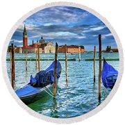 Gondolas And San Giorgio Di Maggiore In Venice, Italy Round Beach Towel