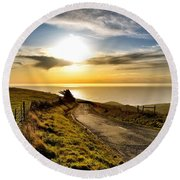 Towards The Sunset Round Beach Towel