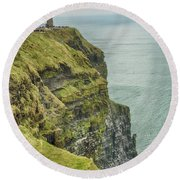 Tower At The Cliffs Of Moher Round Beach Towel