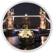 Tower Bridge And Hms Belfast Round Beach Towel