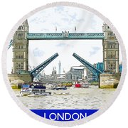Tower Bridge London England Round Beach Towel